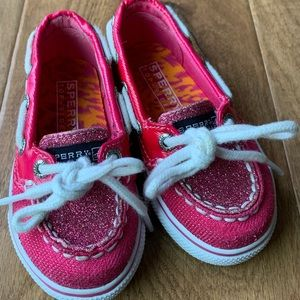 Pink glitter sparkle Sperry topsiders toddler sz 5